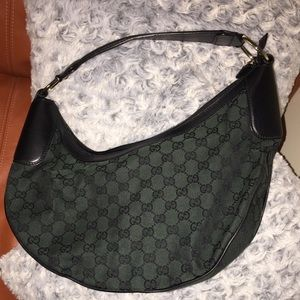 Authentic Green Monogram Gucci GG Bucket bag